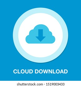 Download cloud icon, vector download illustration, cloud computing
