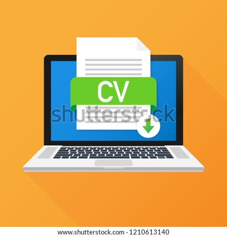 download cv button on laptop screen stock vector royalty free