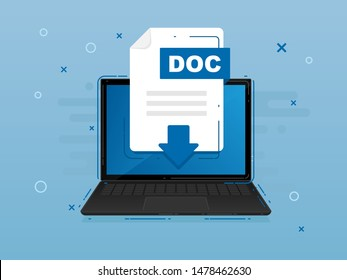 Download DOC icon file with label on laptop screen. Downloading document concept. Banner for business, marketing and advertising. Vector Illustration.