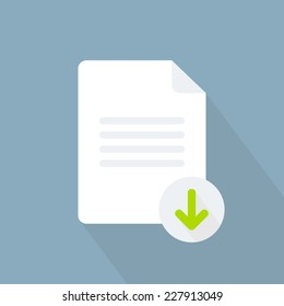 Download document icon. Flat style. Vector illustration