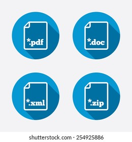 Download document icons. File extensions symbols. PDF, ZIP zipped, XML and DOC signs. Circle concept web buttons. Vector