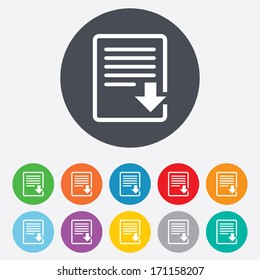 Download file icon. File document symbol. Round colourful 11 buttons. Vector