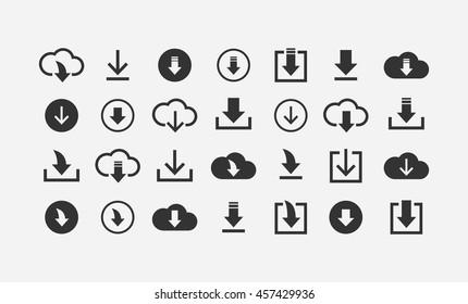 Download files / cloud storage icon set