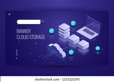 Download files from the concept cloud data storage, isometric cloud computer technology, network vector 3d schematic