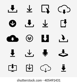 Download files icons vector set for web site or application. Various simple download icon isolated from the background.