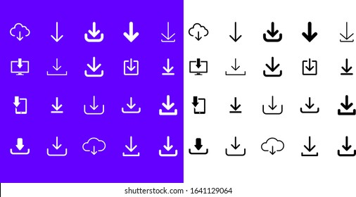 Download files vector icon. Duo tone Save to Device line icons set for web and mobile app. Simple Cloud download, backup, e-commerce purchase, Image saving symbol isolated from the background.