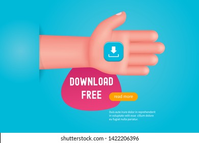 Download free concept. Hand holding download icon. Cartoon vector illustration