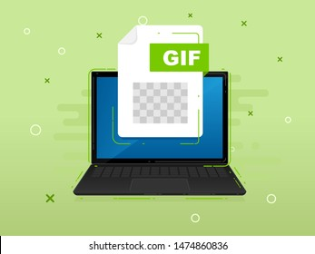 Download GIF icon file with label on laptop screen. Downloading document concept. Banner for business, marketing and advertising. Vector Illustration.
