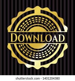 Download gold badge or emblem. Vector Illustration. Detailed.