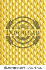 Download gold shiny emblem. Scales pattern. Vector Illustration. Detailed.