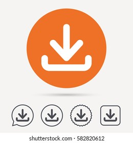 Download icon. Load internet data symbol. Circle, speech bubble and star buttons. Flat web icons. Vector
