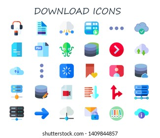 download icon set. 30 flat download icons.  Collection Of - audio guide, file, cloud computing, server, more, doc, psd, kraken, database, right arrow, cloud, loading, bookmark