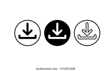 Download icon set in black simple design on an isolated background. EPS 10 vector