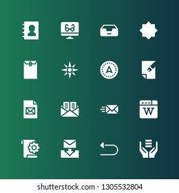 download icon set. Collection of 16 filled download icons included Server, Undo, Email, File, Wikipedia, Mail, Navigation, Envelope, Night mode, Inbox, Reading mode, Phone book