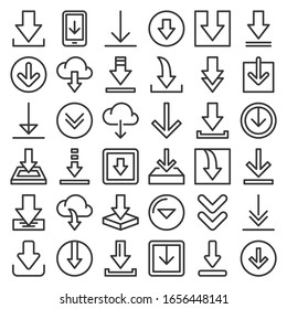 Download Icon Set on White Background. Line Style Vector