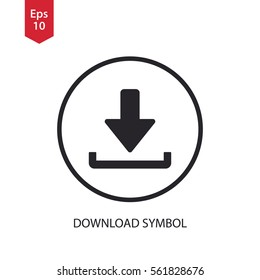 Download Icon. Simple Flat Symbol In Circle. Vector Illustrated Sign
