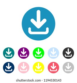 Download icon. Upload button. Load symbol. Round colourful 11 buttons. Vector illustration