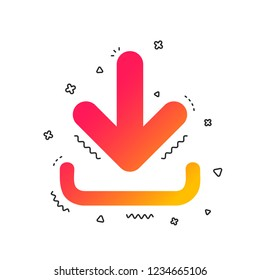 Download icon. Upload button. Load symbol. Colorful geometric shapes. Gradient download icon design.  Vector