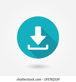 Download icon. Upload button. Load symbol. Round button. Vector. Arrow point to down