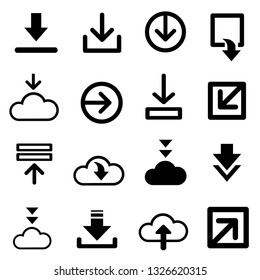 download icon vector for creating button, bar and web app icons, download now symbol, vector arrow down document file symbol icon set