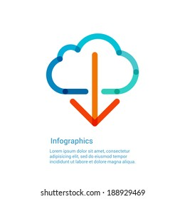 Download from the internet cloud flat line icon infographic illustration template for web, app or brochure. Vector illustration.