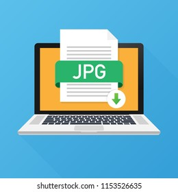 Download JPG button on laptop screen. Downloading document concept. File with JPG label and down arrow sign. Vector stock illustration.