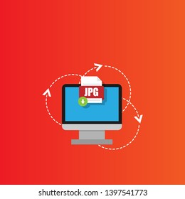 Download JPG file icon on pc screen. Downloading file concept. File with JPG icon and green down arrow sign.