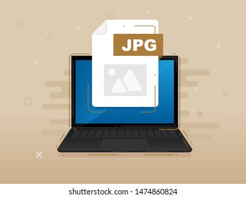 Download JPG icon file with label on laptop screen. Downloading document concept. Banner for business, marketing and advertising. Vector Illustration.