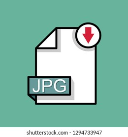Download JPG icon.  JPEG document type. Downloading document concept. Flat design vector
