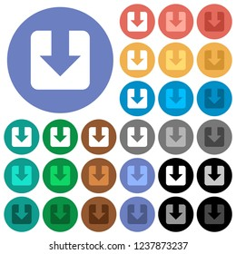 Download multi colored flat icons on round backgrounds. Included white, light and dark icon variations for hover and active status effects, and bonus shades.
