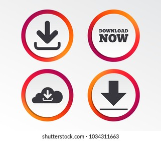 Download now icon. Upload from cloud symbols. Receive data from a remote storage signs. Infographic design buttons. Circle templates. Vector