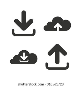Download now icon. Upload from cloud symbols. Receive data from a remote storage signs. Flat icons on white. Vector