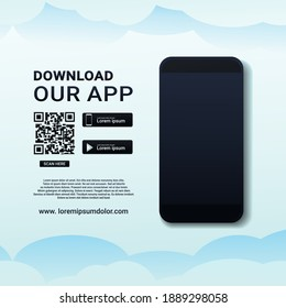 Download our app. Download page of  the mobile app. Ad page to download new app. Blank smartphone screen for app. Illustration vector