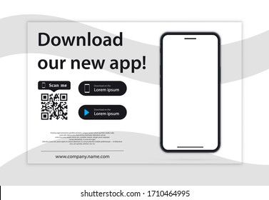 Download page of the mobile app. Empty screen smartphone for you apps. Download our new app ,Mobile App. Load buttons. Download our App, background. Banner Page of the mobile application