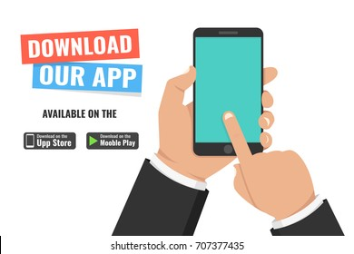 Download page of the mobile app. Hand holding smartphone and touching screen. Flat vector illustration.