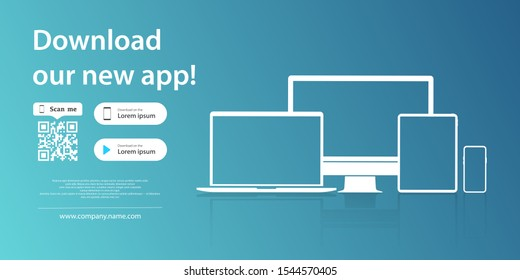 Download page of the mobile app. Simple blank banner for your application on the screen of a smartphone tablet and computer. Mock up of device icon for download app. Download buttons