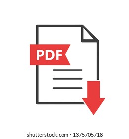 Download PDF File Icon. Universal Illustration As A Simple Vector Sign & Trendy Symbol for Design and Websites, Presentation or Mobile Application
