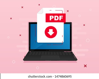 Download PDF icon file with label on laptop screen. Downloading document concept. Banner for business, marketing and advertising. Vector Illustration.