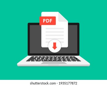 Download PDF icon file with label on laptop screen. Downloading document concept. View, read, download PDF file on laptops and mobile devices. Banner for business, marketing and advertising.