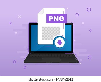 Download PNG icon file with label on laptop screen. Downloading document concept. Banner for business, marketing and advertising. Vector Illustration.