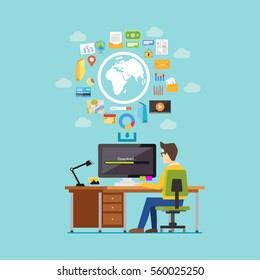 Download processing data on computer with internet.  Person accessing internet content. illustration for web banner, web element, or infographics element.