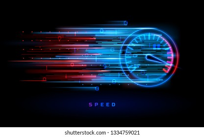 Download progress bar or round indicator of web speed. Sport car speedometer for hud background. Gauge control with numbers for speed measurement. Analog tachometer, high performance theme