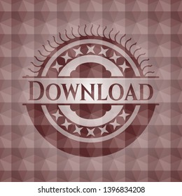 Download red badge with geometric pattern background. Seamless.
