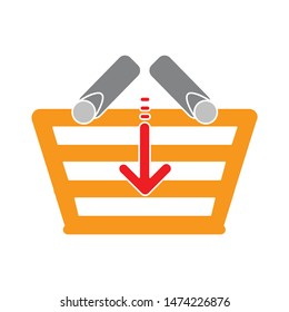 download shopping basket icon. flat illustration of download shopping basket vector icon. download shopping basket sign symbol