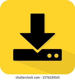 Download sign. Save to my computer storage. Cloud transfer. Website element. Flat 3D shadow design. yellow background black vector. product brand service label banner board display. App icon.