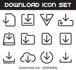 Download, Update, Save Icon Set Vector Thin Line. Simple Minimal Download Icon Set.