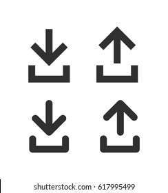 Download and upload icon isolated on white background. Set arrow icons. Simple black icons in trendy flat style. Vector illustration, EPS10.
