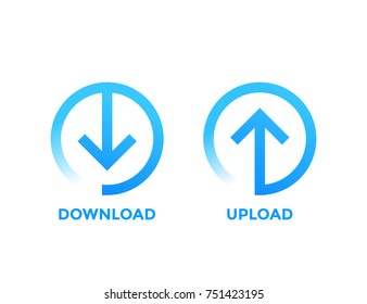 download, upload icons with arrow in circle, blue on white