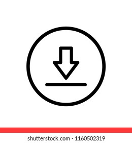 Download vector icon, down symbol. Simple, flat design for web or mobile app