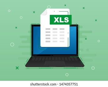 Download XLS icon file with label on laptop screen. Downloading document concept. Banner for business, marketing and advertising. Vector Illustration.